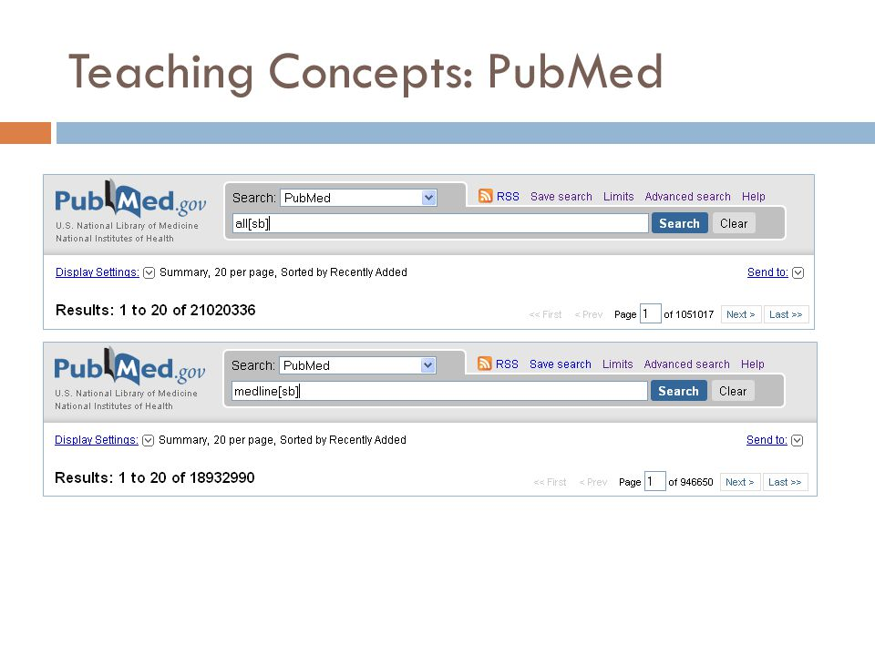 Teaching Concepts: PubMed