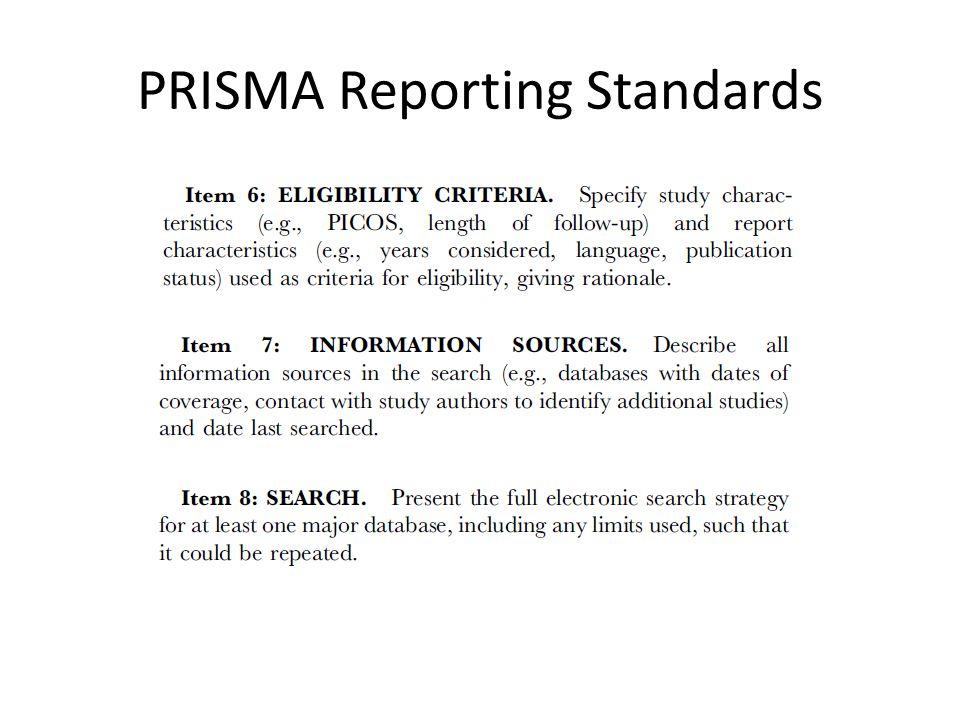 PRISMA Reporting Standards