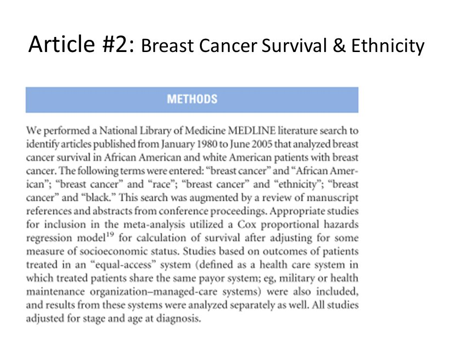 Article #2: Breast Cancer Survival & Ethnicity