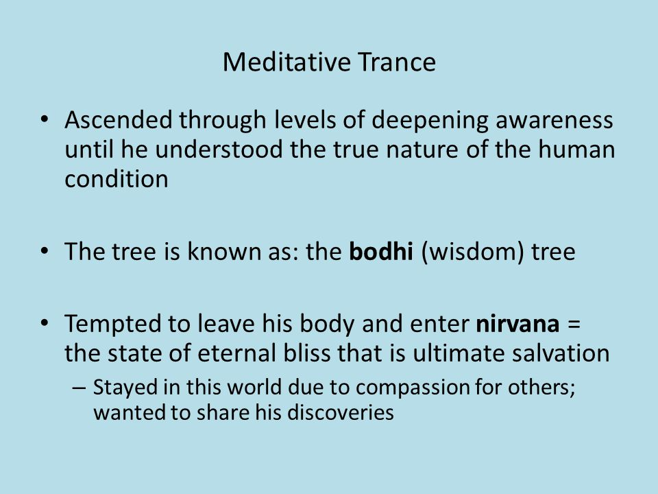 Meditative Trance Ascended through levels of deepening awareness until he understood the true nature of the human condition The tree is known as: the bodhi (wisdom) tree Tempted to leave his body and enter nirvana = the state of eternal bliss that is ultimate salvation – Stayed in this world due to compassion for others; wanted to share his discoveries