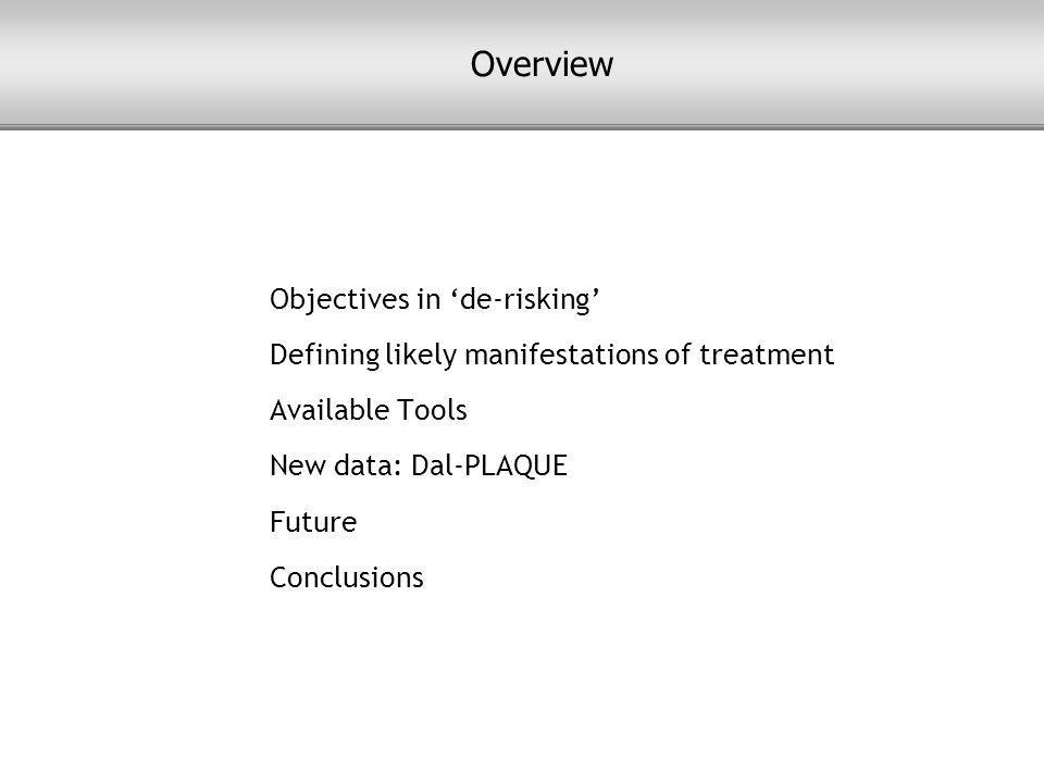 Objectives in 'de-risking' Defining likely manifestations of treatment Available Tools New data: Dal-PLAQUE Future Conclusions Overview