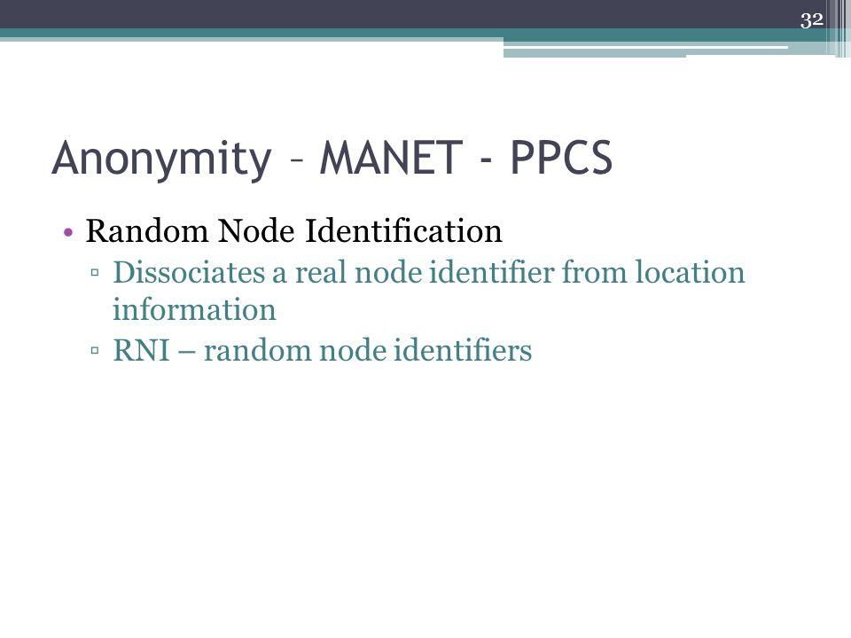 Anonymity – MANET - PPCS Random Node Identification ▫Dissociates a real node identifier from location information ▫RNI – random node identifiers 32