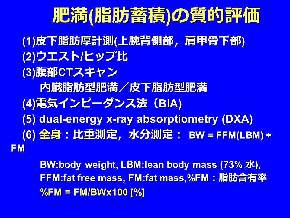 (1) 皮下脂肪厚計測 ( 上腕背側部,肩甲骨下部 ) (1) 皮下脂肪厚計測 ( 上腕背側部,肩甲骨下部 ) (2) ウエスト / ヒップ比 (2) ウエスト / ヒップ比 (3) 腹部 CT スキャン (3) 腹部 CT スキャン内臓脂肪型肥満/皮下脂肪型肥満 (4) 電気インピーダンス法( BIA) (4) 電気インピーダンス法( BIA) (5) dual-energy x-ray absorptiometry (DXA) (5) dual-energy x-ray absorptiometry (DXA) (6) 全身:比重測定,水分測定: BW = FFM(LBM) + FM (6) 全身:比重測定,水分測定: BW = FFM(LBM) + FM BW:body weight, LBM:lean body mass (73% 水 ), FFM:fat free mass, FM:fat mass,%FM :脂肪含有率 %FM = FM/BWx100 [%] 肥満 ( 脂肪蓄積 ) の質的評価