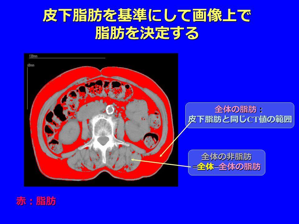 皮下脂肪を基準にして画像上で 脂肪を決定する 赤:脂肪 全体の脂肪: 皮下脂肪と同じ CT 値の範囲 全体の非脂肪 = 全体 − 全体の脂肪