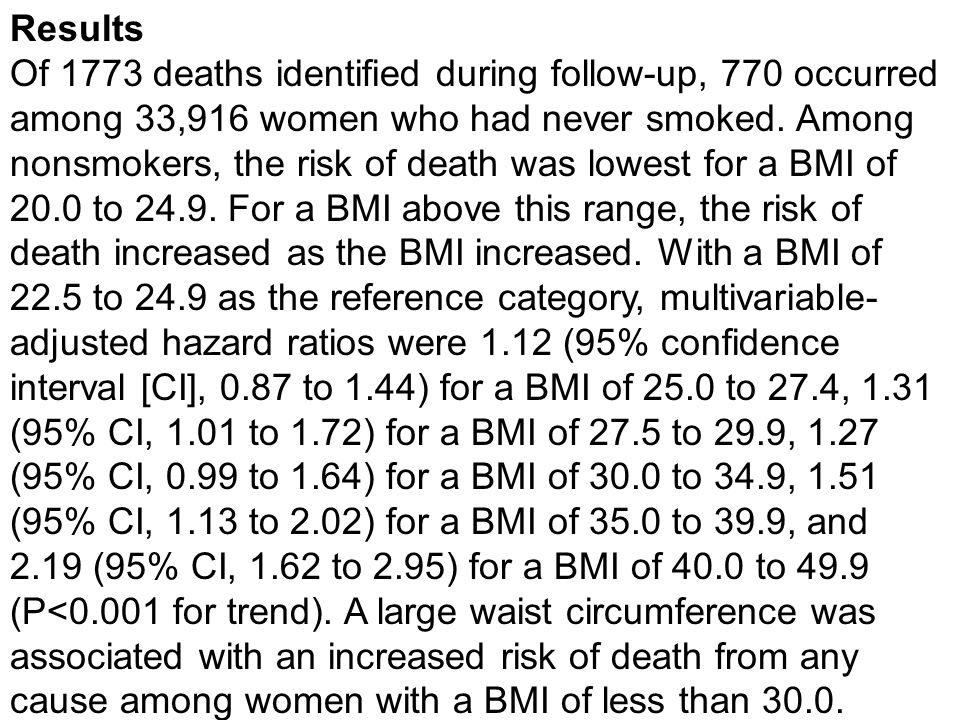 Results Of 1773 deaths identified during follow-up, 770 occurred among 33,916 women who had never smoked.