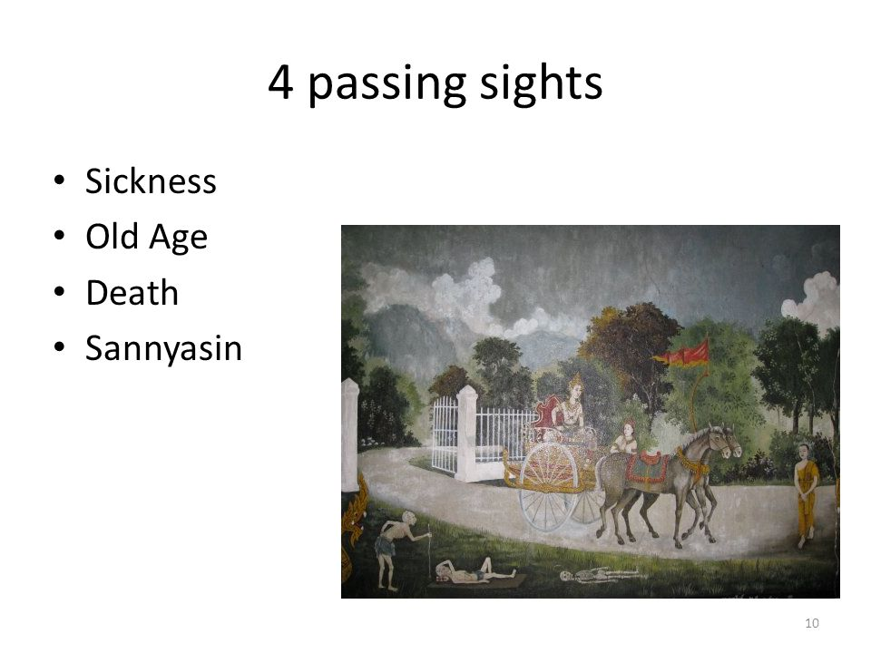 4 passing sights Sickness Old Age Death Sannyasin 10