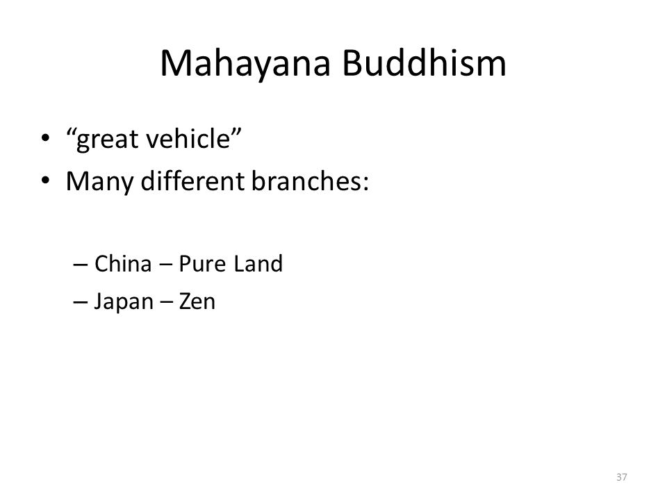 Mahayana Buddhism great vehicle Many different branches: – China – Pure Land – Japan – Zen 37