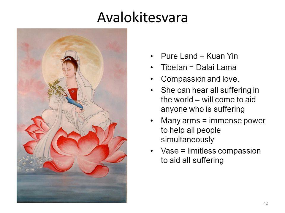 Avalokitesvara Pure Land = Kuan Yin Tibetan = Dalai Lama Compassion and love.