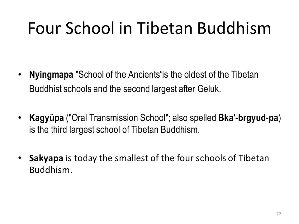 Four School in Tibetan Buddhism Nyingmapa School of the Ancients is the oldest of the Tibetan Buddhist schools and the second largest after Geluk.