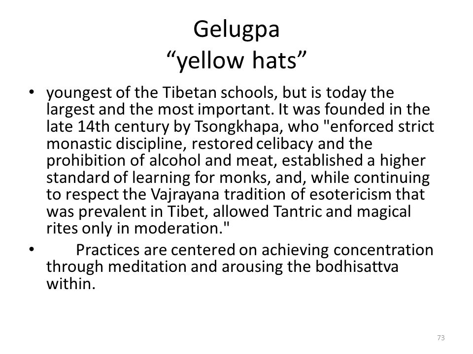 Gelugpa yellow hats youngest of the Tibetan schools, but is today the largest and the most important.