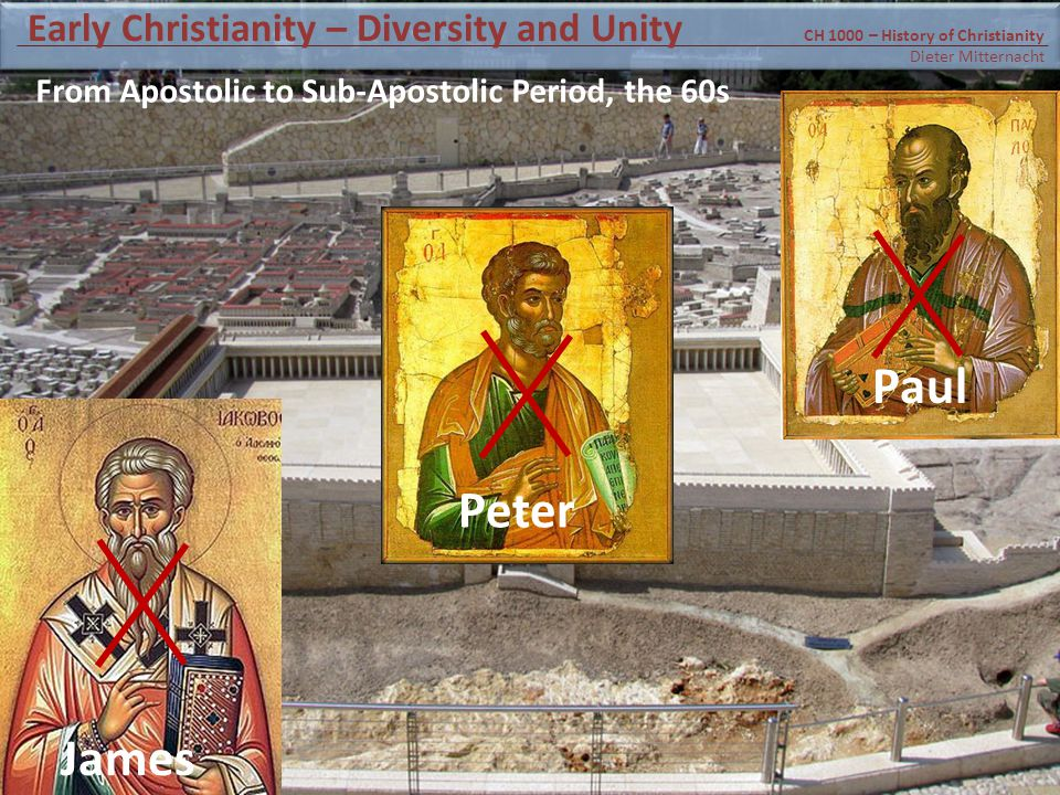 James Peter Paul From Apostolic to Sub-Apostolic Period, the 60s CH 1000 – History of Christianity Dieter Mitternacht Early Christianity – Diversity and Unity