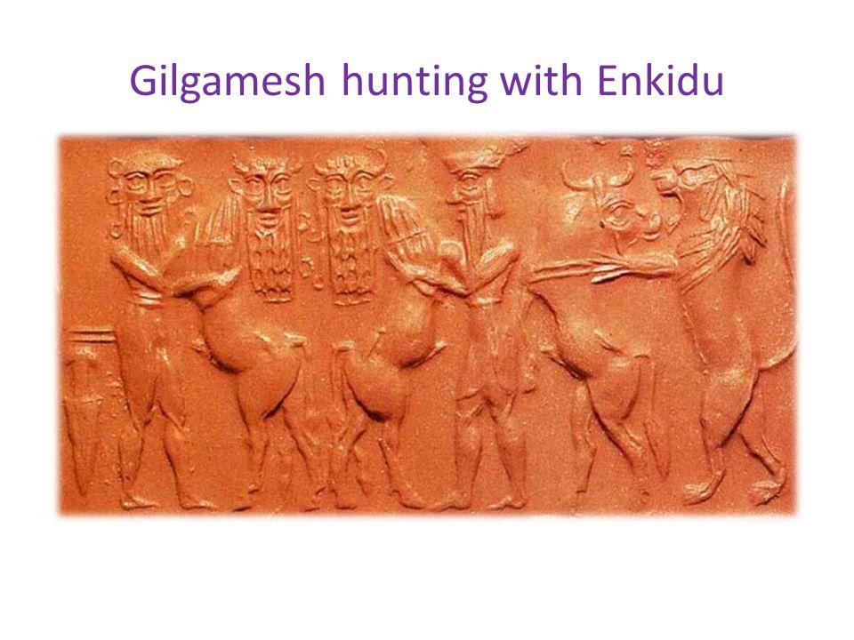 Gilgamesh hunting with Enkidu