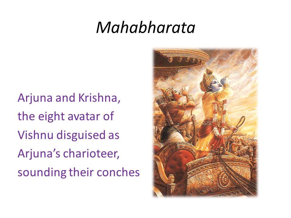 Mahabharata Arjuna and Krishna, the eight avatar of Vishnu disguised as Arjuna's charioteer, sounding their conches