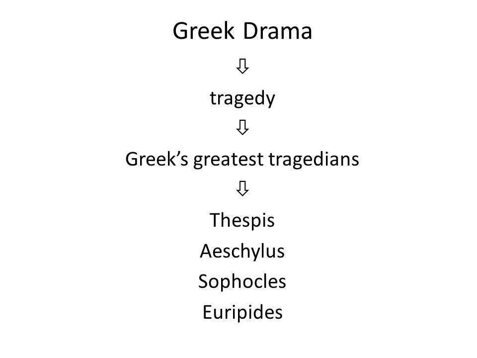 Greek Drama  tragedy  Greek's greatest tragedians  Thespis Aeschylus Sophocles Euripides