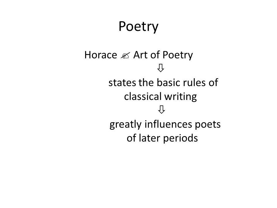 Poetry Horace  Art of Poetry  states the basic rules of classical writing  greatly influences poets of later periods