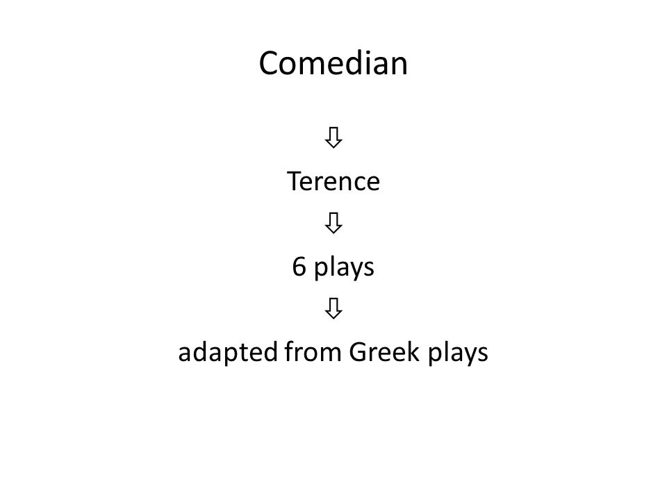 Comedian  Terence  6 plays  adapted from Greek plays