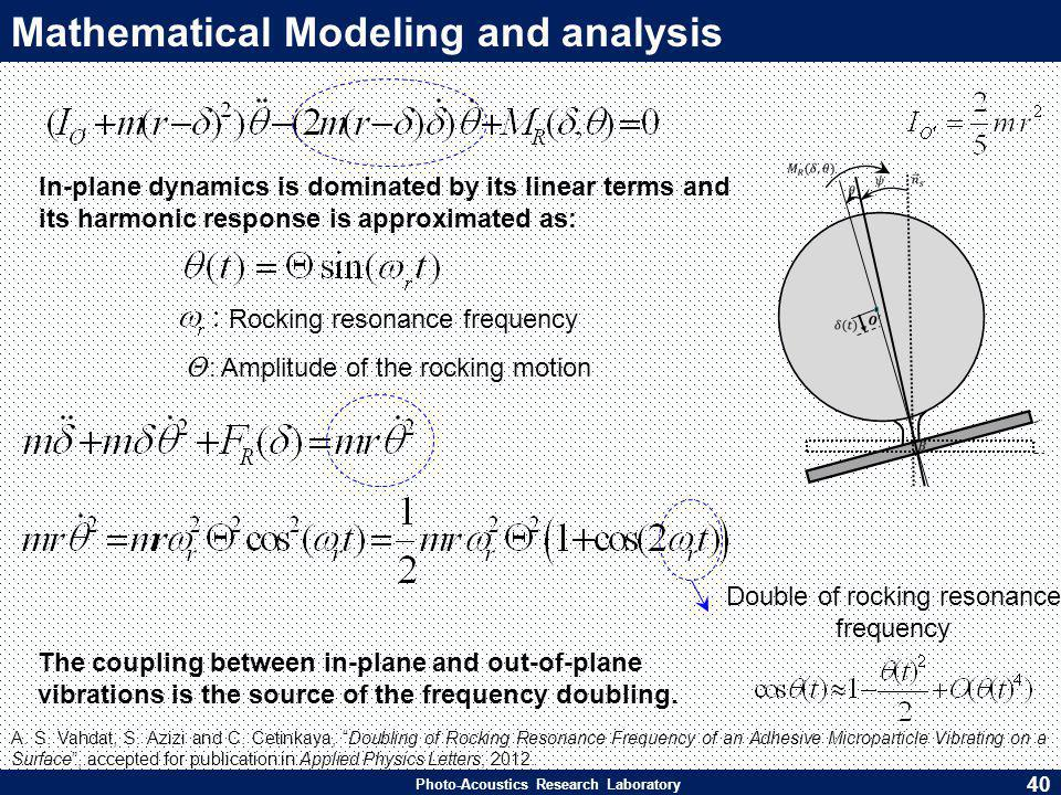 Photo-Acoustics Research Laboratory Mathematical Modeling and analysis In-plane dynamics is dominated by its linear terms and its harmonic response is approximated as: Θ : Amplitude of the rocking motion Rocking resonance frequency Double of rocking resonance frequency The coupling between in-plane and out-of-plane vibrations is the source of the frequency doubling.