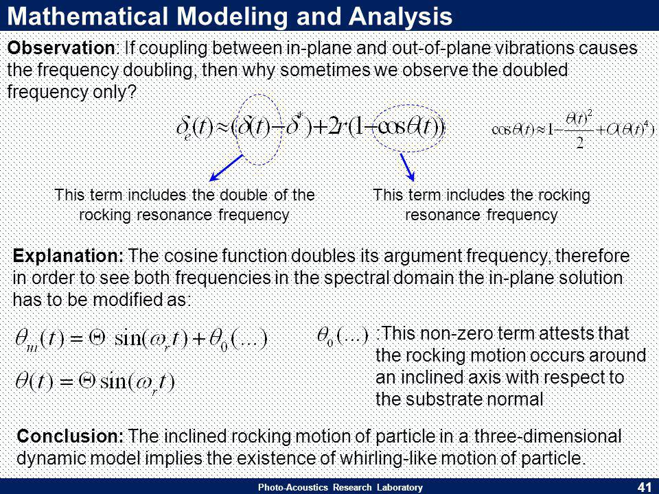 Photo-Acoustics Research Laboratory Mathematical Modeling and Analysis Explanation: The cosine function doubles its argument frequency, therefore in order to see both frequencies in the spectral domain the in-plane solution has to be modified as: Conclusion: The inclined rocking motion of particle in a three-dimensional dynamic model implies the existence of whirling-like motion of particle.
