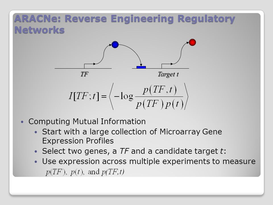 ARACNe: Reverse Engineering Regulatory Networks Computing Mutual Information Start with a large collection of Microarray Gene Expression Profiles Select two genes, a TF and a candidate target t: Use expression across multiple experiments to measure Target t TF
