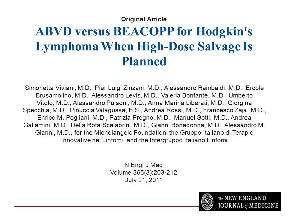 Original Article ABVD versus BEACOPP for Hodgkin's Lymphoma When High-Dose Salvage Is Planned Simonetta Viviani, M.D., Pier Luigi Zinzani, M.D., Aless