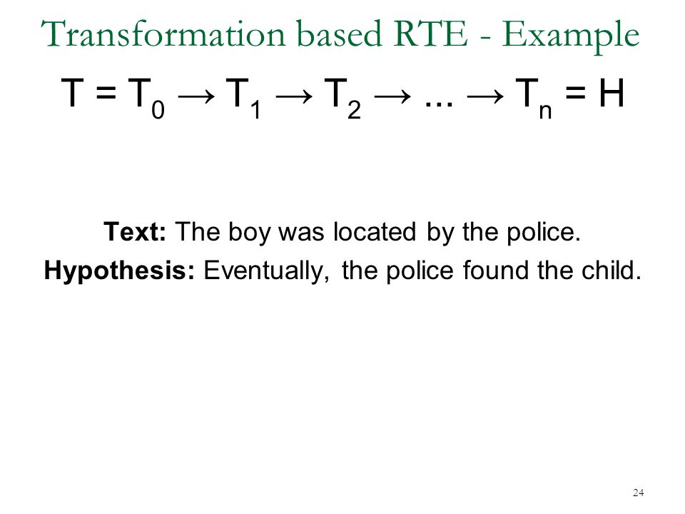 Transformation based RTE - Example T = T 0 → T 1 → T 2 →...