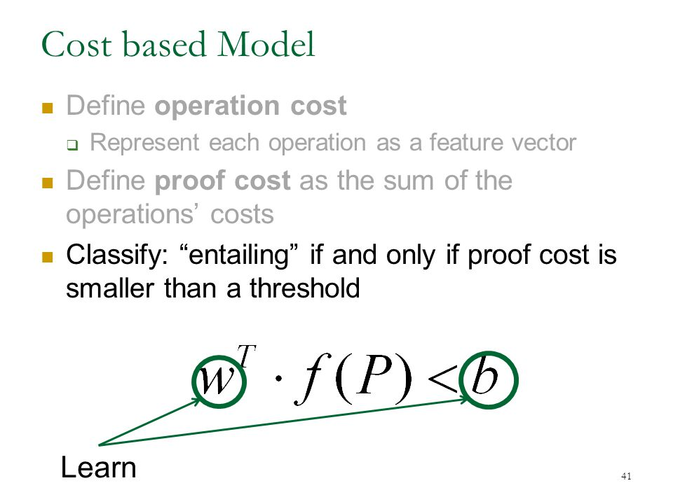 Cost based Model Define operation cost  Represent each operation as a feature vector Define proof cost as the sum of the operations' costs Classify: entailing if and only if proof cost is smaller than a threshold 41 Learn