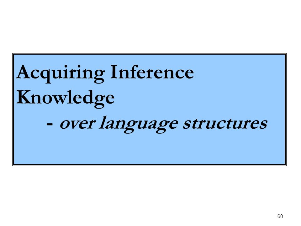 60 Acquiring Inference Knowledge - over language structures