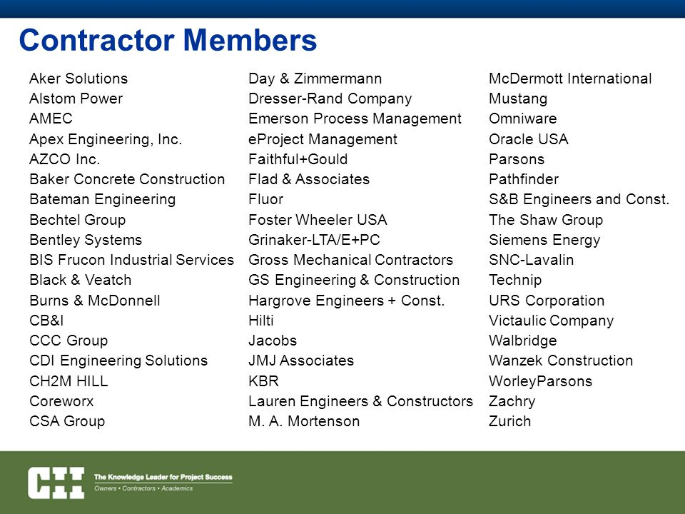 Contractor Members Aker Solutions Alstom Power AMEC Apex Engineering, Inc.