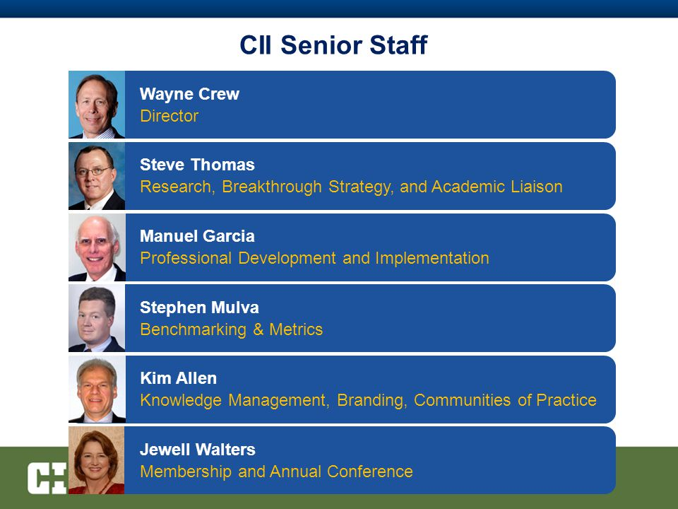 CII Senior Staff Jewell Walters Membership and Annual Conference Manuel Garcia Professional Development and Implementation Kim Allen Knowledge Management, Branding, Communities of Practice Steve Thomas Research, Breakthrough Strategy, and Academic Liaison Wayne Crew Director Stephen Mulva Benchmarking & Metrics