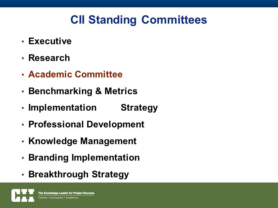 CII Standing Committees Executive Research Academic Committee Benchmarking & Metrics ImplementationStrategy Professional Development Knowledge Management Branding Implementation Breakthrough Strategy