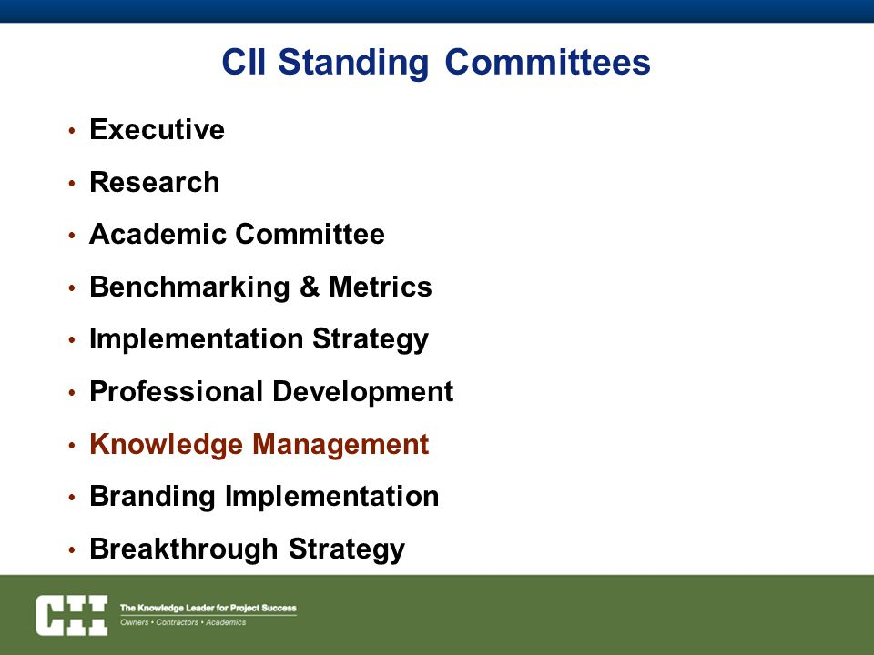 CII Standing Committees Executive Research Academic Committee Benchmarking & Metrics Implementation Strategy Professional Development Knowledge Management Branding Implementation Breakthrough Strategy