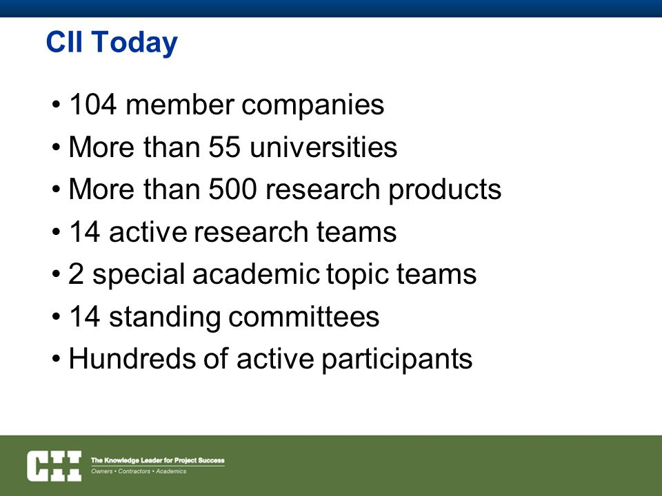 CII Today 104 member companies More than 55 universities More than 500 research products 14 active research teams 2 special academic topic teams 14 standing committees Hundreds of active participants