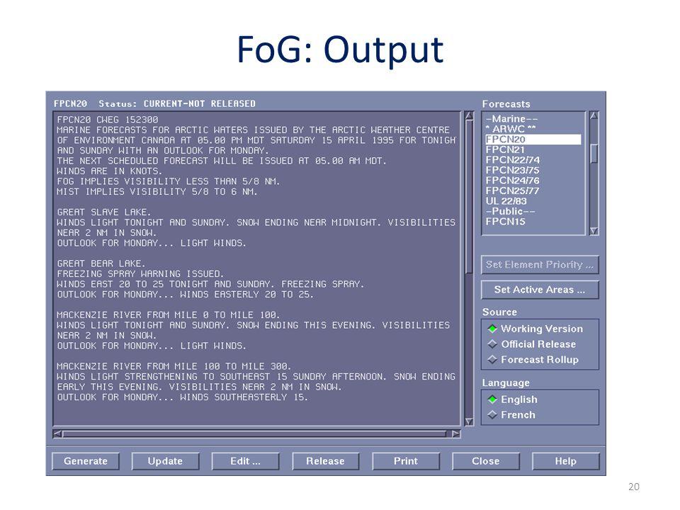 20 FoG: Output