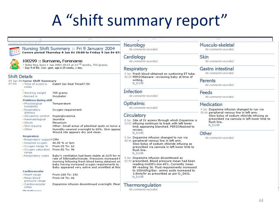 "A ""shift summary report"" 44"