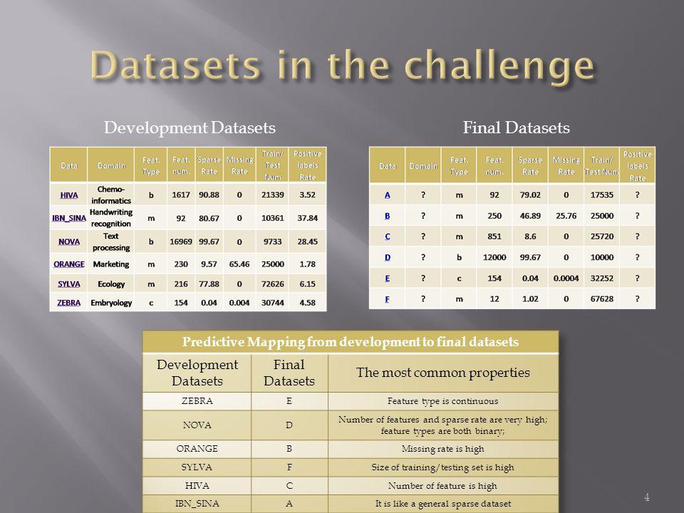 4 Development DatasetsFinal Datasets