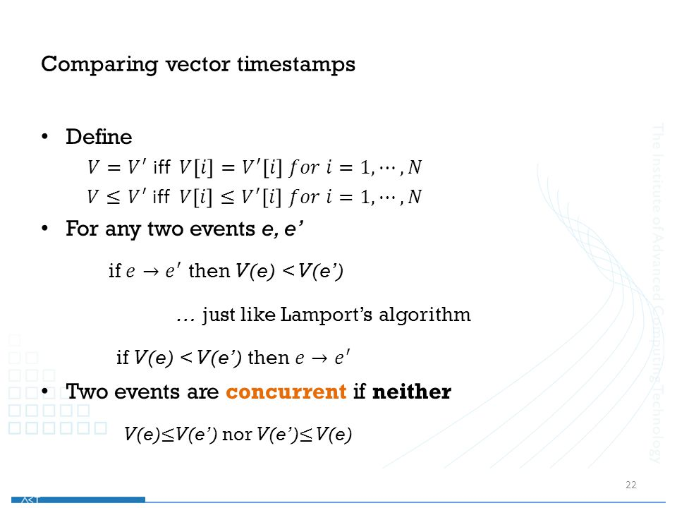 Comparing vector timestamps 22
