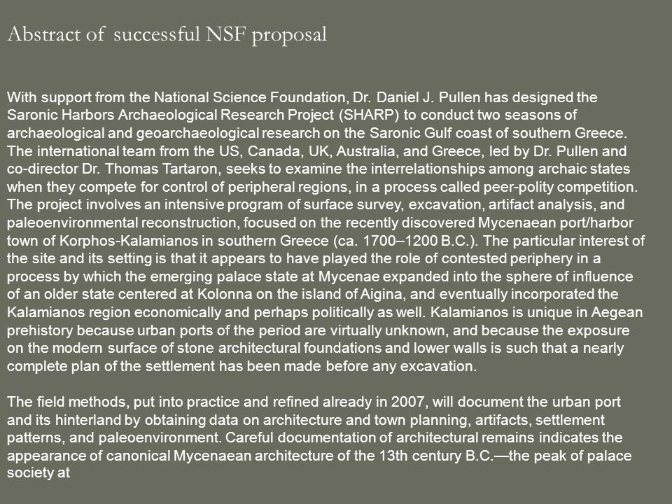 Abstract of successful NSF proposal With support from the National Science Foundation, Dr.