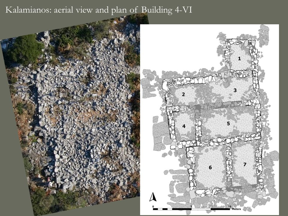 Kalamianos: aerial view and plan of Building 4-VI