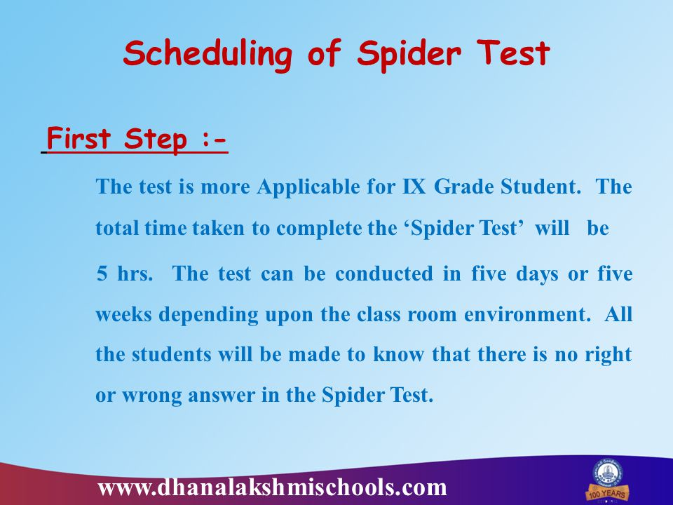 Scheduling of Spider Test First Step :- The test is more Applicable for IX Grade Student. The total time taken to complete the 'Spider Test' will be 5