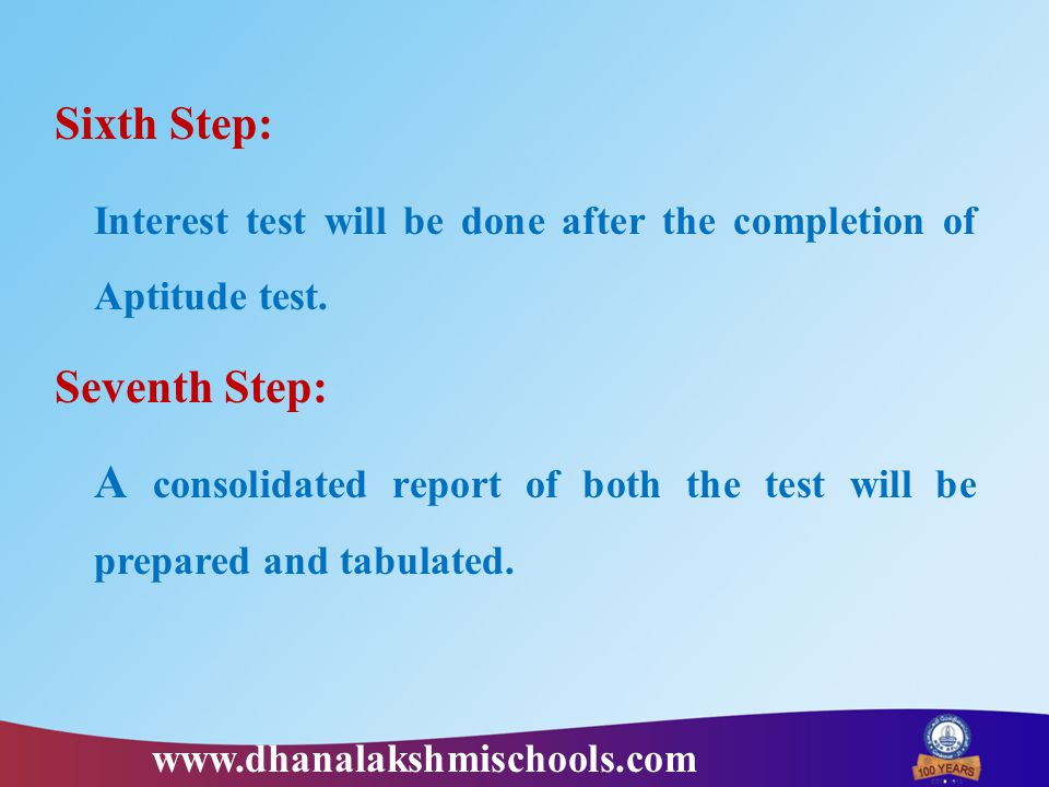 Sixth Step: Interest test will be done after the completion of Aptitude test. Seventh Step: A consolidated report of both the test will be prepared an
