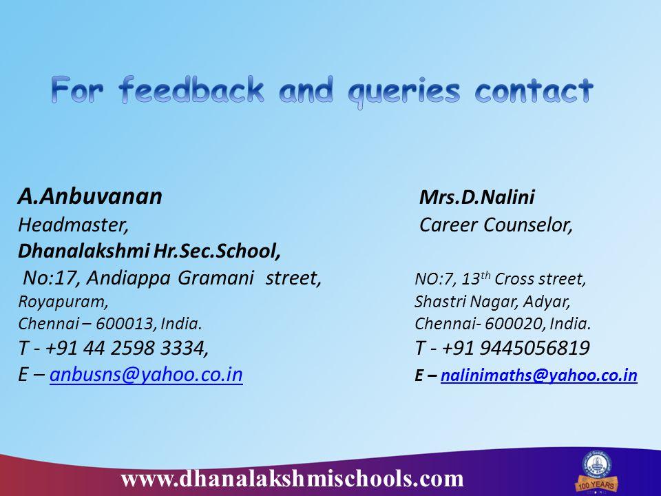 A.Anbuvanan Mrs.D.Nalini Headmaster, Career Counselor, Dhanalakshmi Hr.Sec.School, No:17, Andiappa Gramani street, NO:7, 13 th Cross street, Royapuram