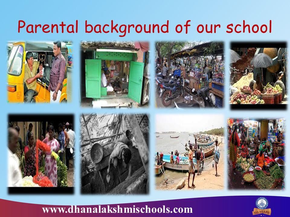 Parental background of our school www.dhanalakshmischools.com