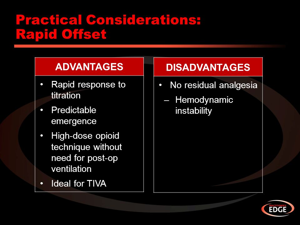 Practical Considerations: Rapid Offset ADVANTAGES Rapid response to titration Predictable emergence High-dose opioid technique without need for post-o