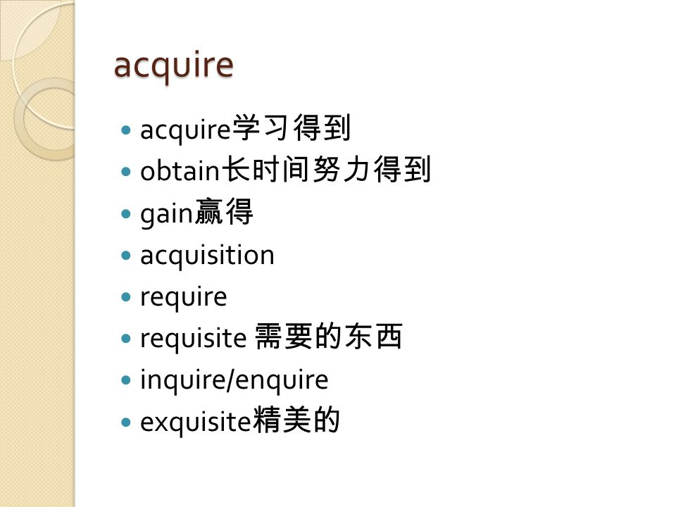 acquire acquire 学习得到 obtain 长时间努力得到 gain 赢得 acquisition require requisite 需要的东西 inquire/enquire exquisite 精美的
