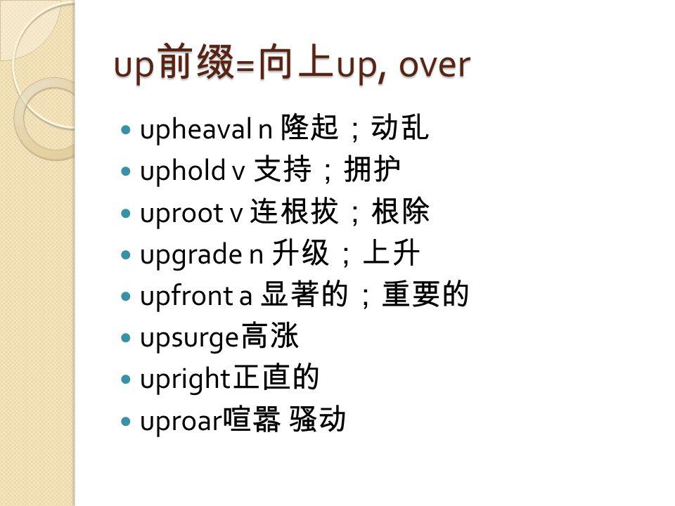 up 前缀 = 向上 up, over upheaval n 隆起;动乱 uphold v 支持;拥护 uproot v 连根拔;根除 upgrade n 升级;上升 upfront a 显著的;重要的 upsurge 高涨 upright 正直的 uproar 喧嚣 骚动