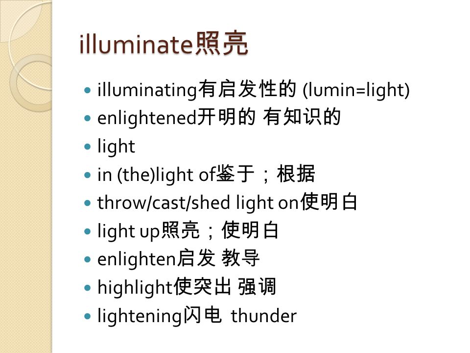 illuminate 照亮 illuminating 有启发性的 (lumin=light) enlightened 开明的 有知识的 light in (the)light of 鉴于;根据 throw/cast/shed light on 使明白 light up 照亮;使明白 enlighten 启发 教导 highlight 使突出 强调 lightening 闪电 thunder