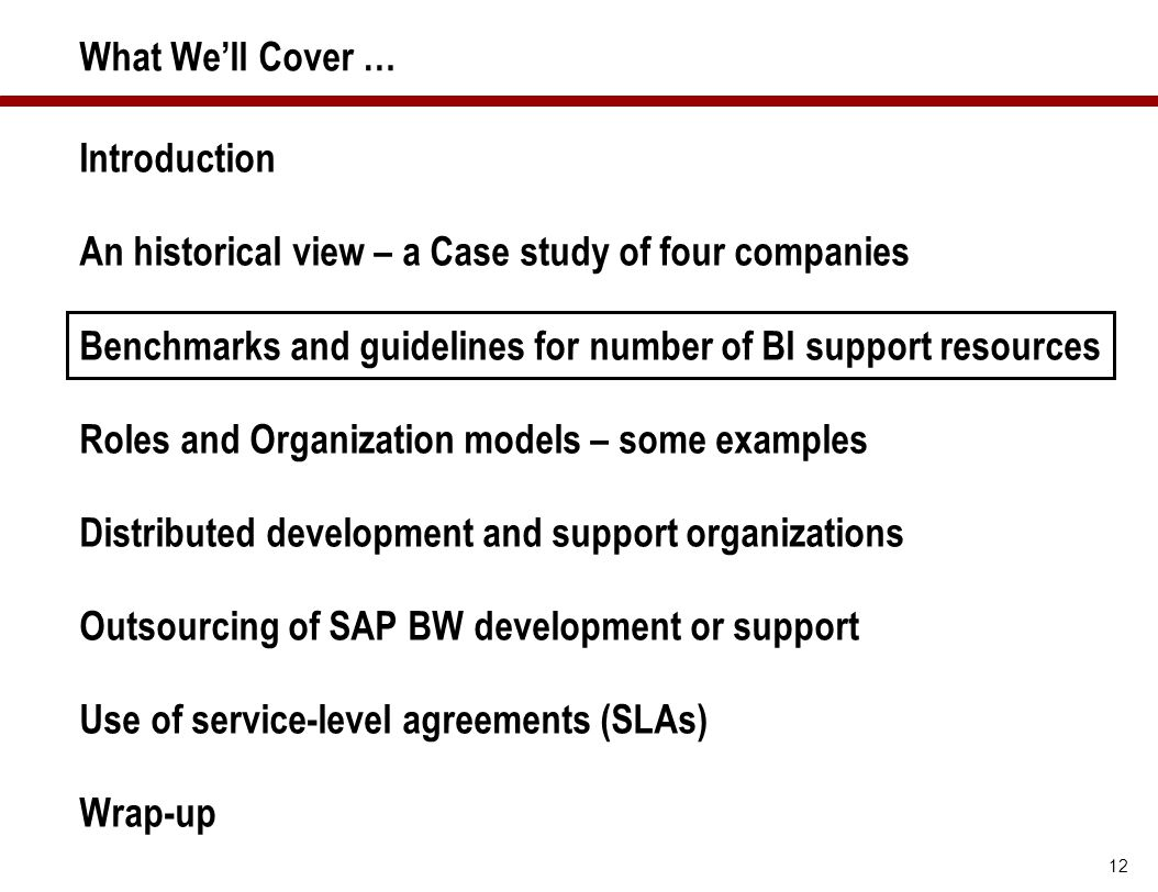 12 What We'll Cover … Introduction An historical view – a Case study of four companies Benchmarks and guidelines for number of BI support resources Ro