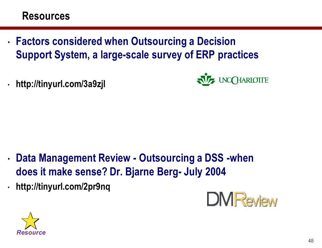 48 Resources Factors considered when Outsourcing a Decision Support System, a large-scale survey of ERP practices http://tinyurl.com/3a9zjl Data Manag