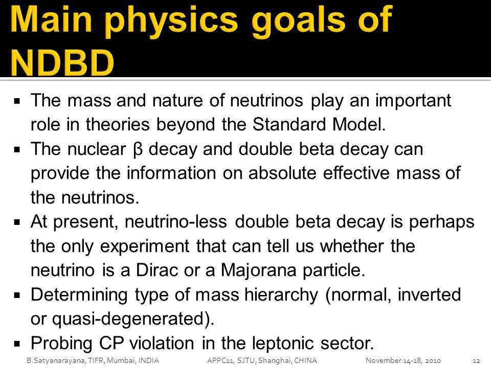  The mass and nature of neutrinos play an important role in theories beyond the Standard Model.