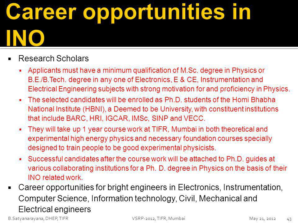  Research Scholars  Applicants must have a minimum qualification of M.Sc.